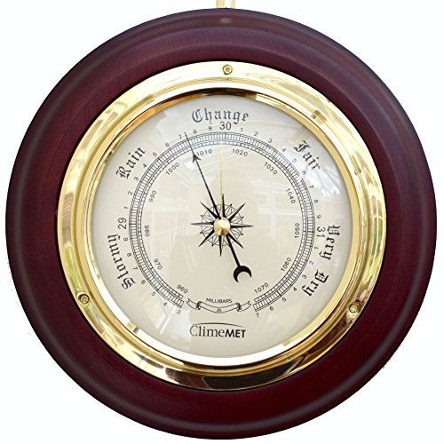 ClimeMET CM4202 Traditional Mahogany Wood Surround Forecaster Barometer. Test