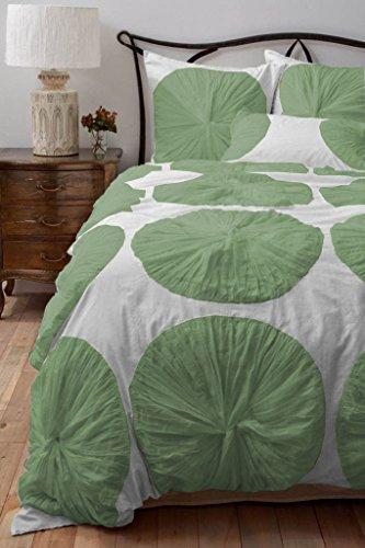 Scala SCALABEDDING Bettwäsche-Set mit Blumenmotiv, 600 TC, ägyptische Baumwolle, Doppelbettgröße, Extra-Lang, Grün/Weiß (Extra Lange Twin Bettwäsche-sets)
