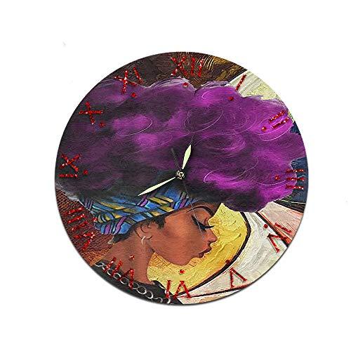 GZHMW Wanduhr Modern Wohnzimmer Afrikanische Frauen Römische Ziffern Karikatur Ohne Tickgeräusche lautlos Uhr Wand 30cm for Schlafzimmer Badezimmer Büro Junge Kinderzimmer Mädchen