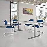 Weber Büro EASY Konferenztisch Bootsform 200x100 cm Weiß mit Elektrifizierung Besprechungstisch Tisch, Gestellfarbe:Silber