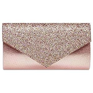 Caspar TA517 Damen kleine elegante Envelope Glitzer Clutch Tasche Abendtasche