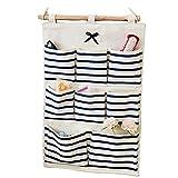 Dreamsy Hanging Organizer Aufbewahrungstasche, 8-Pocket-Wandhalterung/Over Door Storage Blau Gestreifte Tasche für Geldbörsen, Schlüssel, Sonnenbrillen