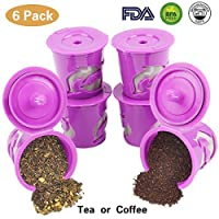 SKY-DI K-Cup 2.0 - 6pcs Smart Refillable/Reusable K-Cups For Keurig 2.0 - K300,K350,K400,K450,K500,K550 Series And All 1.0 Brewers ( 6 Purple) Essential Accessories