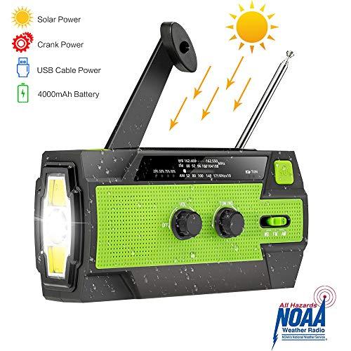 Amecty Wind Up Solar Radiofor Notfall, Mehrzweck, Multi Powered, helle Taschenlampe und Leselampe, mit AM/FM NOAA, 4000mAh Power Bank und SOS Alarm für Picknick, Klettern, Camping, ect