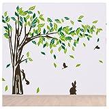 Zhide Wandtattoo Großen Baumwandaufkleber mit Eichhörnchen und Vogel Grüne Blätter herausnehmbare Wand-Aufkleber Wandsticker für Wohnzimmer Schlafzimmer Kinderzimmer Braun (215*395cm/84.65*155.5inch)