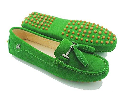 Minitoo JD568–3Mocassini da donna con nappa in camoscio Suede-Grass Green