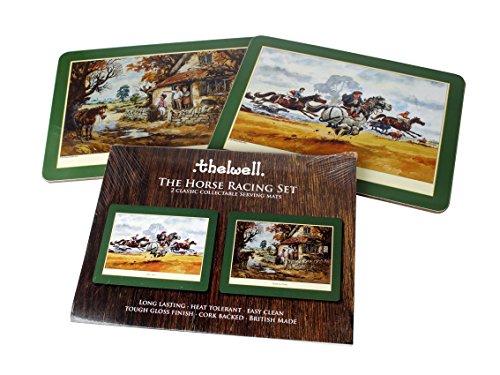 beswick-animals-thelwell-figurine-horse-racing-tapis-de-service-set-2-couleurs-assorties-melamine-av