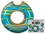 OOTB 91/4175 Schwimmring Donut mit Biss Aufblasbarer Donut Schwimmreifen ca. Ø 120 cm Türkis/Gelb