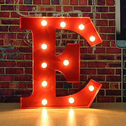 SOLMORE 30*5CM Lettre LED à Pile Lumineux A-Z Métal Alphabet Lampe Ampoule Stickers Muraux DIY Décoration Mariage Soirée Anniversaire Fête Noël École Hôtel Bar Restauration Chambre Enfant (Rouge) E