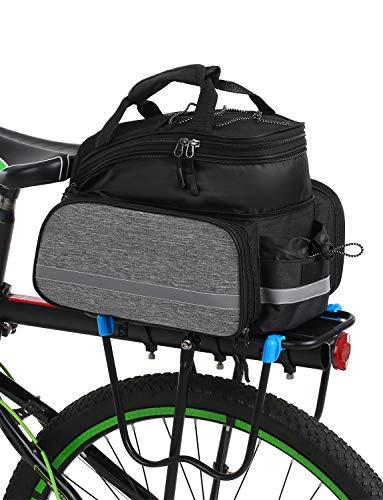Lixada Bolsa Trasera para Bicicleta Multifuncional Bolsa de Asiento Trasero Bolsa de Hombro para Ciclismo al Aire Libre (Gris(Stretch:28 * 23 * 34cm/Unstretch:35 * 23 * 19cm))