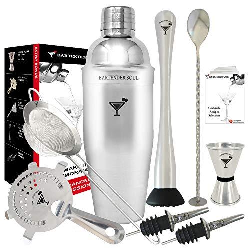 Komplettes Professionelles Cocktail Set von BARTENDER SOUL - 750ml 0.8mm Shaker Kit , Hawthorne und Eingebautem Siebs, Feinfilter, Jigger, Bar Löffel, Muddler, Ausgießer für Flaschen und Rezepte