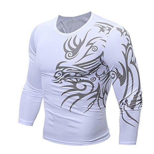 JYJM Männer Fashion Sexy Printing Männer Langarm-Qualität T-Shirt Winter Shirt Autaum Shirt