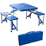 DP Design® - Mesa de pícnic para acampada fabricada en aluminio ABS, 4plazas, plegable en maletín