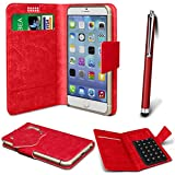 N4U Online® - Parla Gala PU-Leder Saugnapf Mappen-Kasten-Abdeckung & High Sensitive Stylus Pen - Red