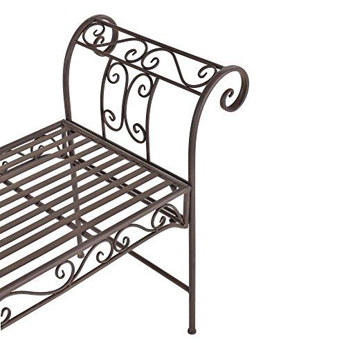 [casa.pro] Robuste Gartenbank aus Metall in edelrost-braun - 3