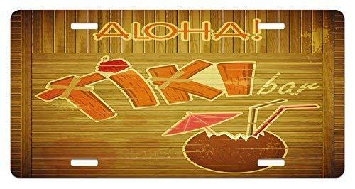 CP Tiki Bar Nummernschild, Holzplanken auf Walwith Stil Tiki Bar Text CocktaiHibiscus Aloha, Hochglanz Aluminium Neuheit Schild, 15,2 x 30,5 cm, Braun Orange Pink Aluminium Schild -