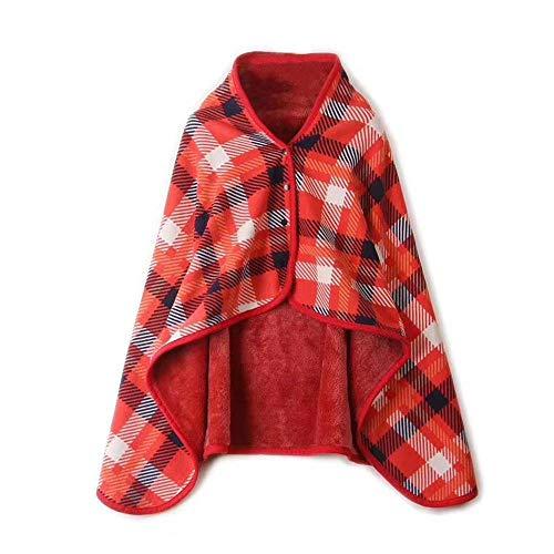 TAOtTAO doppelte Karierte Decke schal wrap Feuchtigkeit absorbieren warme faul Dame multifunktions doublelayer Tartan Plaid Blanket Winter warm (D) (Damen Winter Unendlichkeit Schal)