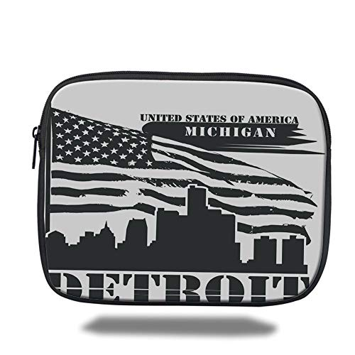 Tablet Bag for Ipad air 2/3/4/mini 9.7 inch,Detroit Decor,Monochrome Grunge City Silhouette American Flag United States Michigan Decorative,Black and White,3D Print -