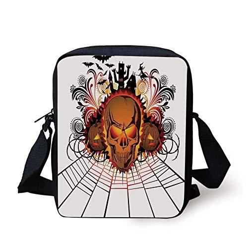 Halloween Decorations,Angry Skull Face on Bonfire Spirits of Other World Concept Bats Spider Web,Multi Print Kids Crossbody Messenger Bag Purse