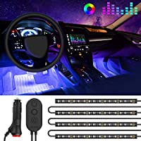 Car Interior Lights, Govee Car LED Strip Lights 48 LED Multicolour Music Sync Car Ambient Lights, Waterproof Underdash Light Kits with Sound Active Function and Simple Control, 12V One-Line Design
