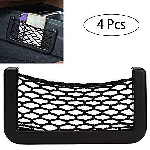 Car Storage Net Automotive Pocket (4 Stück) Elastische Speichernetz Rack Mobile Zigarettenetui Halter Mesh Net Organizer Tasche, Car Cargo Ordentlich Net Storage Boot