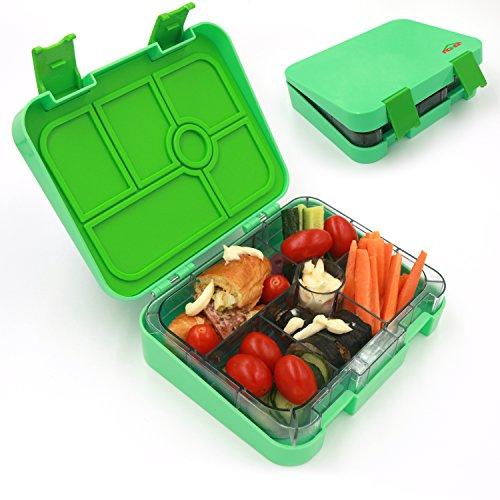 aohea Lunch Box 6Fächer Bento Box mit Sicher Tritan Materialien Kinder auslaufsicher auch für Erwachsene geeignet grün (Container Bento-sauce)