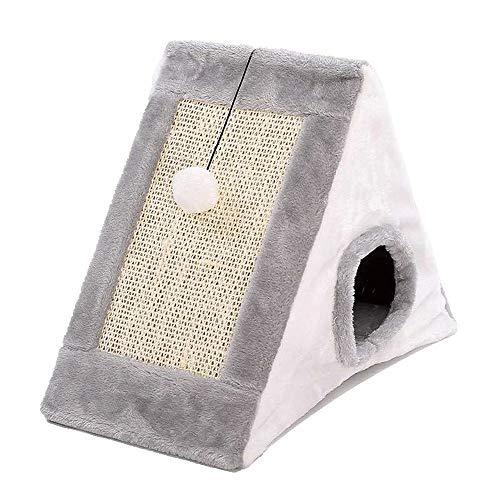 JYHAM Cat Climbing Frame-Cat Scratch Board, 2In1 Tiragraffi for Gatti Triangolo Gatto Caverna Tenda Casetta da Gioco con Scratcher Giocattolo Pieghevole for Graffi di Gatto Grigio + Bianco