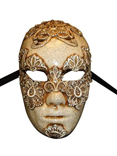 Magic of Venezia Luxus Venezianische Vollgesichts Augen weit geschlossen Maske Volto Mac II für Männer (Silber)