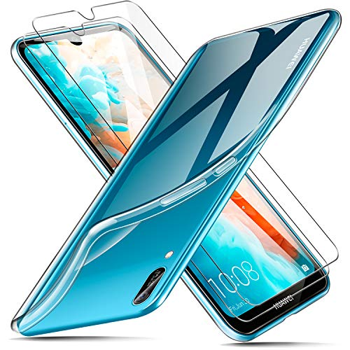 AROYI Huawei Y6 2019 Case + [2 Pack] Protector, Huawei Y6 2019 Clear Case Transparant Silicone TPU Case Premium Protector voor Huawei Y6 2019 - Silicon Protector Case