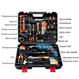Werkzeugsatz, Universale Werkzeugkoffer Haushalt schnurlose Bohrmaschine Kit Variable Geschwindigkeit Schalter Bohrer Schraubendreher Zubehör Set Robuste Aufbewahrungsbox