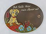 Türschild Keramikschild Hund auf Mauer Haus Keramik Haustürschild