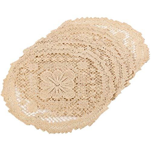 Deckchen aus Leinen-Baumwolle, Häkelspitze, rund, 20,3 x 20,3 cm, naturfarben, 4 Stück - Doily Fall