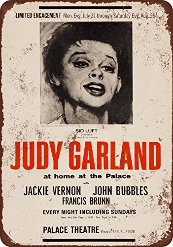 Metal poster with design by Judy Garland at the New York Palace Theater, 20,32 x 30,48 cm