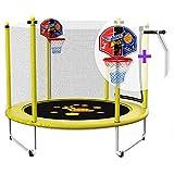 Trampolin, Gehäuse Netztrampolin für Kinder mit Basketballkorb und Handlauf Ø 150 cm, Traglast 250 kg (Gelb)