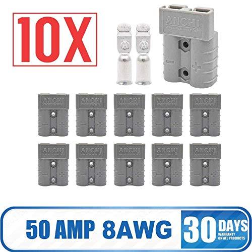 KOKO Zhu 10 Pezzi per connettore Batteria per Auto Van 600V 50Amp connettore rapido connettore Spina - 8AMG (Bianco)