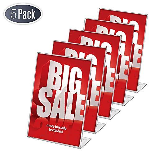 FOBUY poster menu Holde/Porta-brochure da banco, con base a L, acrilico, per A4, confezione da 5