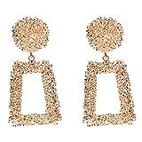 Artily 1 par de Pendientes Brillantes Cuadrados Huecos geométricos para Disfraz y Fiesta, Accesorios de joyería, Regalo para Mujeres y niñas, Aleación, Dorado, 7.2 * 3.7cm