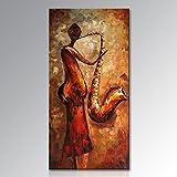 seekland Handbemalt Strukturierte Musik Ölgemälde auf Leinwand Modern Musikinstrument Art Wand Figur Abstrakte Malerei Nicht gespannt und gerahmt Art Deco Framed 24 x 48 inch Vertical #1