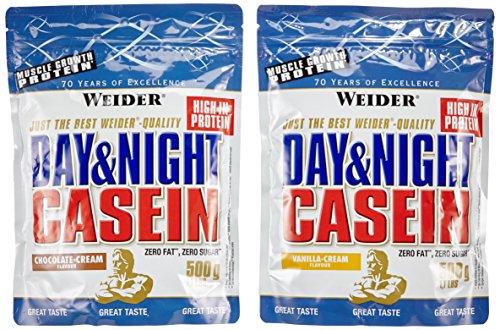 Weider Day und Night Casein Beutel 2er Mix Pack, Schoko-Sahne / Vanille-Sahne, 2 x 500 g (1 x 1 kg)