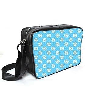 Snoogg weiß blau geblümt Muster Leder Unisex Messenger Bag für College Schule täglichen Gebrauch Tasche Material PU