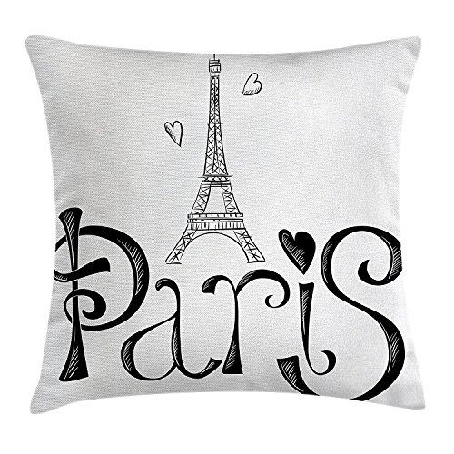 rf Kissenbezug, illustration mit Eiffelturm Frankreich Herz Formen Silhouette Urlaub Thema Kunst Dekorative Quadratisch Accent Kissen Fall 45,7x 45,7cm (Frankreich-thema Schlafzimmer)