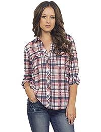 Frauen Hemd klassischer Kragen Knopfleiste lange Ärmel Baumwolle