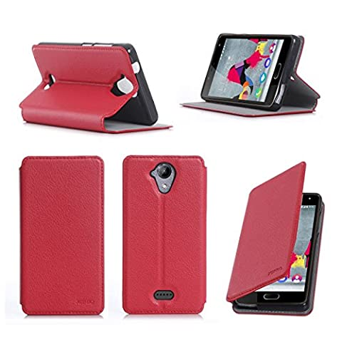 Etui Wiko Ufeel Lite 4G 2016 rouge luxe Ultra Slim Cuir Style avec stand - Housse Folio Flip Cover coque de protection smartphone Wiko U feel LITE rouge - Accessoires pochette XEPTIO : Exceptional case !