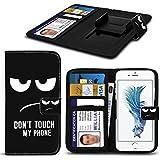 Spyrox - Elephone S1 Case PU-Leder gedruckt Dont My Phone Text Mad Augen Design-Muster-Mappen Clamp-Art-Frühlings-Haut-Abdeckung Berühren