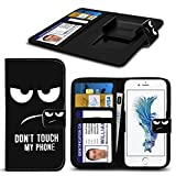 ( Don't Touch My Phone Original ) PRINTED DESIGN case for Argos Alba 5 Inch case cover pouch High Quality Thin Faux Leather Holdit Spring Clamp Clip on Adjustable Book by i-Tronixs