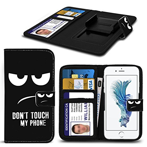 ( Don't Touch My Phone Original 143 x 71.9) PRINTED DESIGN case for Medion Life S5504 case cover pouch High Quality Thin Faux Leather Holdit Spring Clamp Clip on Adjustable Book by i-Tronixs (Banks Outer Pocket)