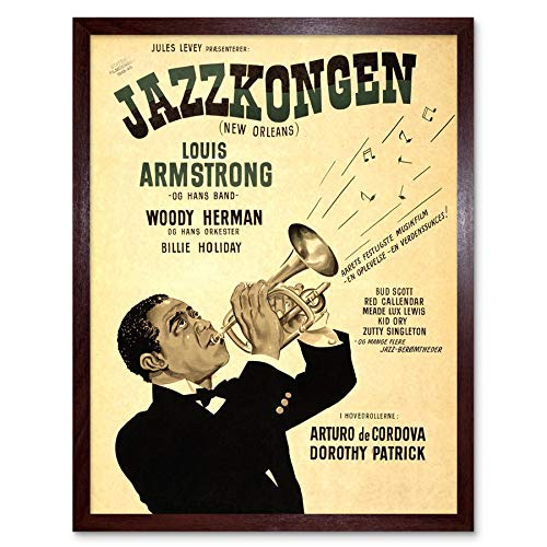 Wee Blue Coo Advertising Movie Film Orleans Swedish Release Louis Armstrong Art Print Framed Poster Wall Decor 12X16 Inch