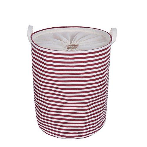 """Cesto para Guardar ropa Sucia Plegable, con Forro Impermeable, de Algodón, Ramio, Lona y arpillera, con Forma de Cubo Cilíndrico, Tamaño Grande 15,7 """"* 19,7"""" H (rojo)"""