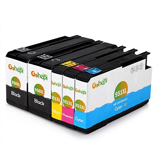 Gohepi 950XL/951XL Kompatibel für Druckerpatronen HP 950XL 951XL, 2 Schwarz/Blau/Rot/Gelb 5er-Pack Arbeiten...
