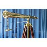 ProPassione Télescope avec trépied, laiton, gross. 10-fois, L 100 cm, trépied en bois / laiton, h 160 cm xl 95 cm